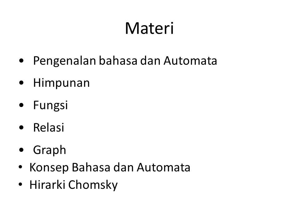 Materi Pengenalan bahasa dan Automata Himpunan Fungsi Relasi Graph Konsep Bahasa dan Automata Hirarki Chomsky