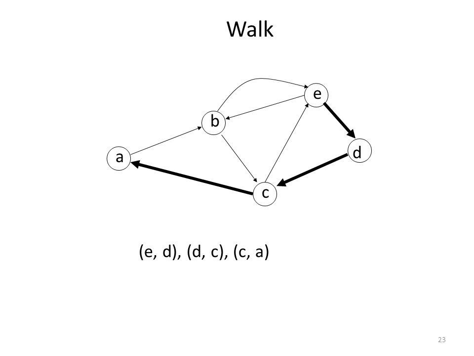 23 Walk a b c d e (e, d), (d, c), (c, a)