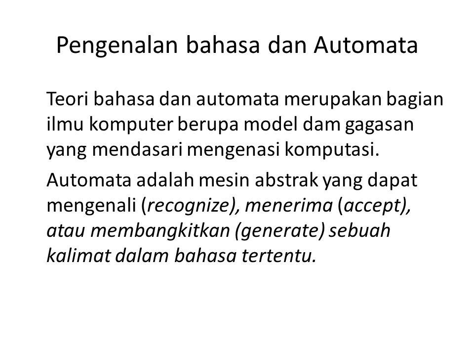Pengenalan bahasa dan Automata Teori bahasa dan automata merupakan bagian ilmu komputer berupa model dam gagasan yang mendasari mengenasi komputasi. A
