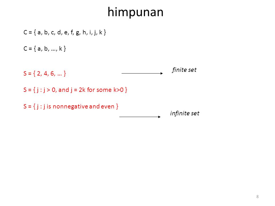 8 himpunan C = { a, b, c, d, e, f, g, h, i, j, k } C = { a, b, …, k } S = { 2, 4, 6, … } S = { j : j > 0, and j = 2k for some k>0 } S = { j : j is non