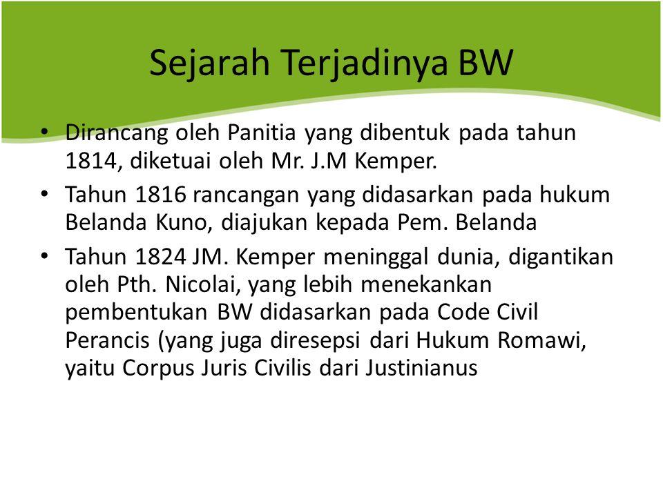 Sejarah Terjadinya BW Dirancang oleh Panitia yang dibentuk pada tahun 1814, diketuai oleh Mr.