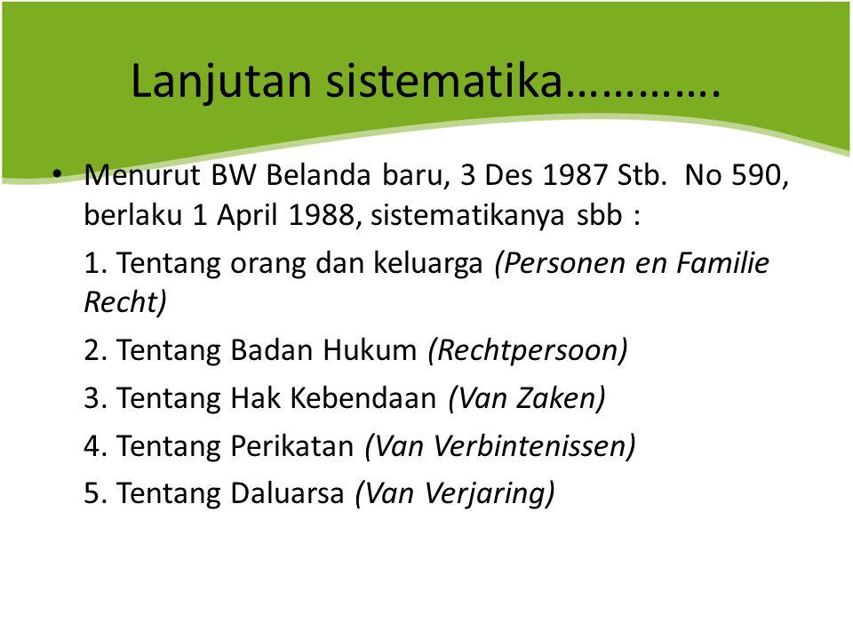 Lanjutan sistematika………….Menurut BW Belanda baru, 3 Des 1987 Stb.