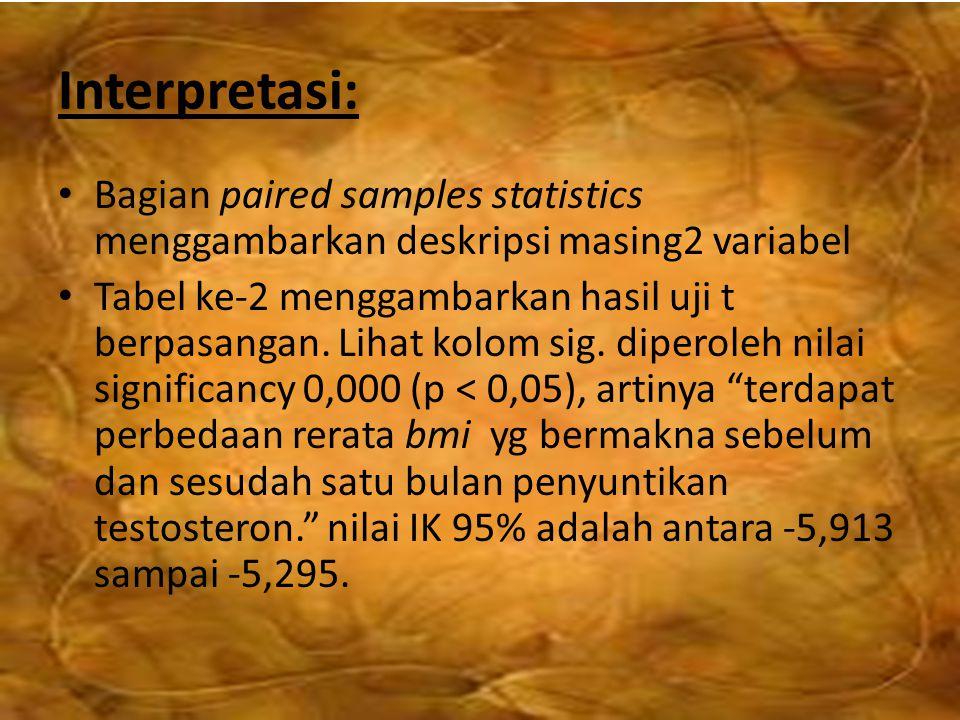 Interpretasi: Bagian paired samples statistics menggambarkan deskripsi masing2 variabel Tabel ke-2 menggambarkan hasil uji t berpasangan. Lihat kolom