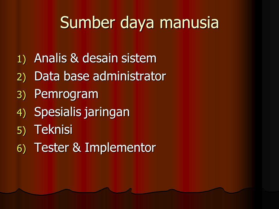 Sumber daya manusia 1) Analis & desain sistem 2) Data base administrator 3) Pemrogram 4) Spesialis jaringan 5) Teknisi 6) Tester & Implementor