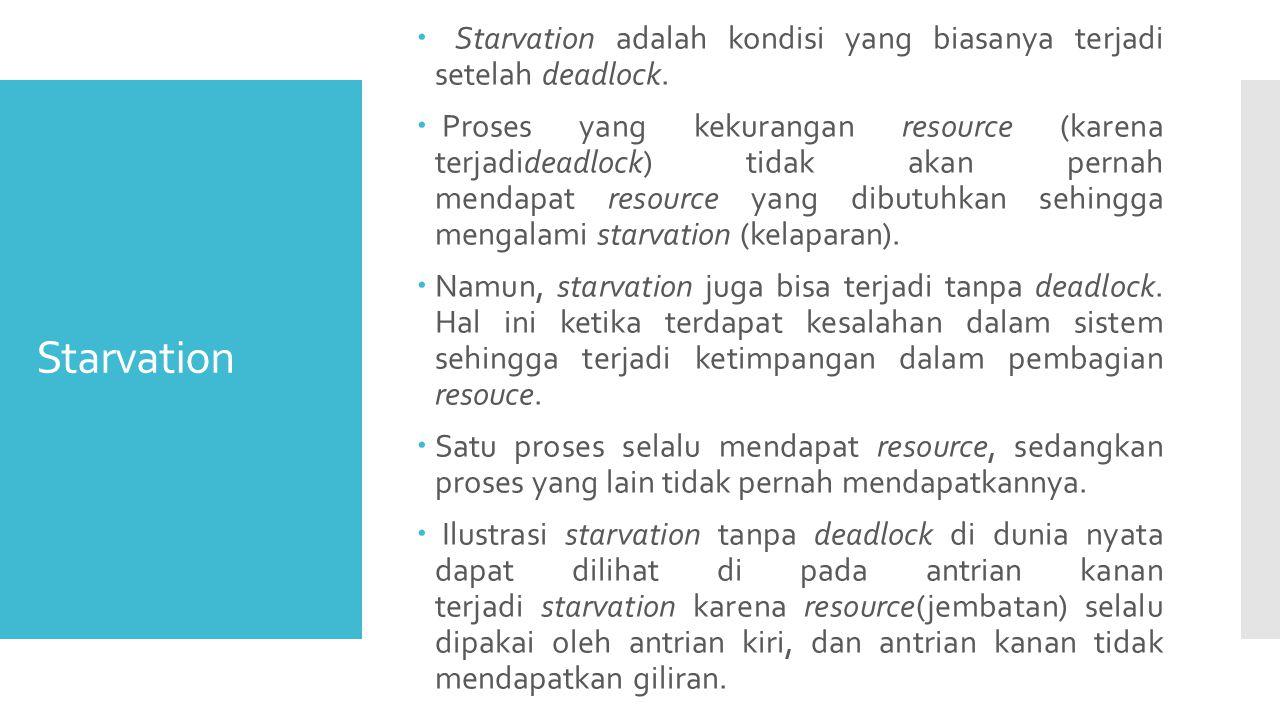 Starvation  Starvation adalah kondisi yang biasanya terjadi setelah deadlock.