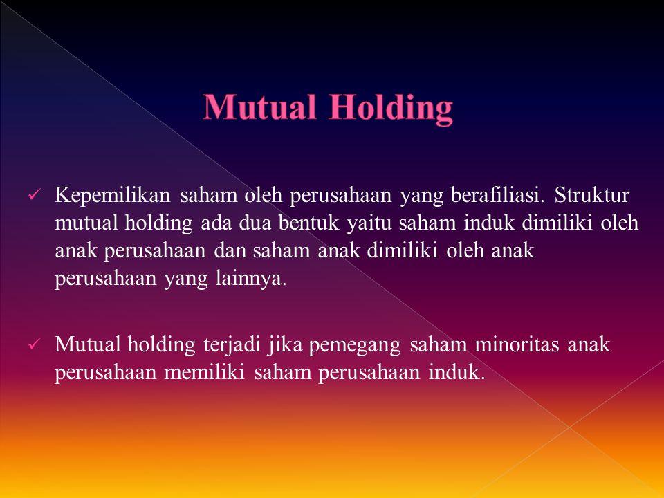 Kepemilikan saham oleh perusahaan yang berafiliasi. Struktur mutual holding ada dua bentuk yaitu saham induk dimiliki oleh anak perusahaan dan saham a