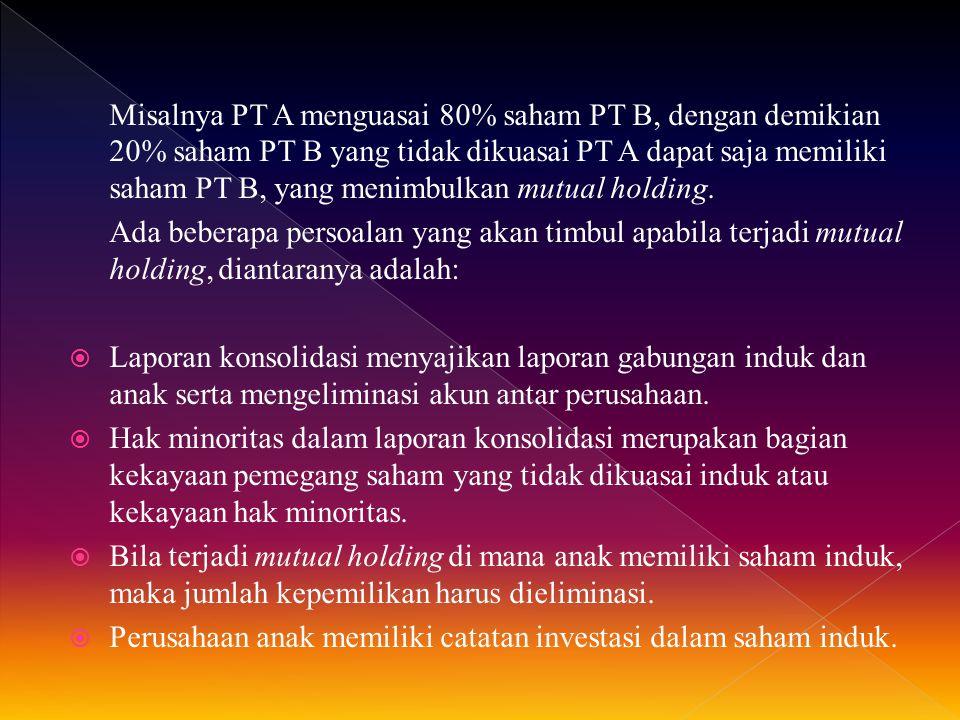 Misalnya PT A menguasai 80% saham PT B, dengan demikian 20% saham PT B yang tidak dikuasai PT A dapat saja memiliki saham PT B, yang menimbulkan mutua