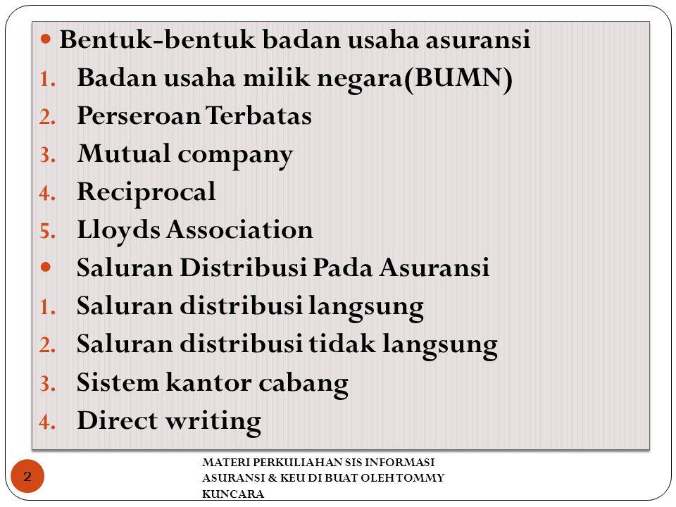 MATERI PERKULIAHAN SIS INFORMASI ASURANSI & KEU DI BUAT OLEH TOMMY KUNCARA 2 Bentuk-bentuk badan usaha asuransi 1.