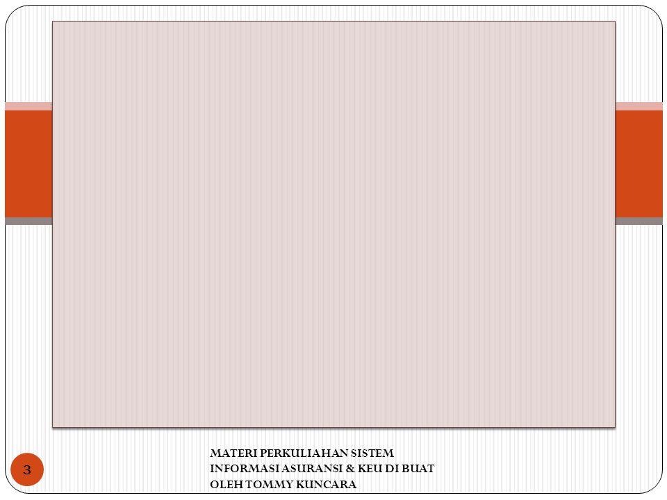 MATERI PERKULIAHAN SISTEM INFORMASI ASURANSI & KEU DI BUAT OLEH TOMMY KUNCARA 3