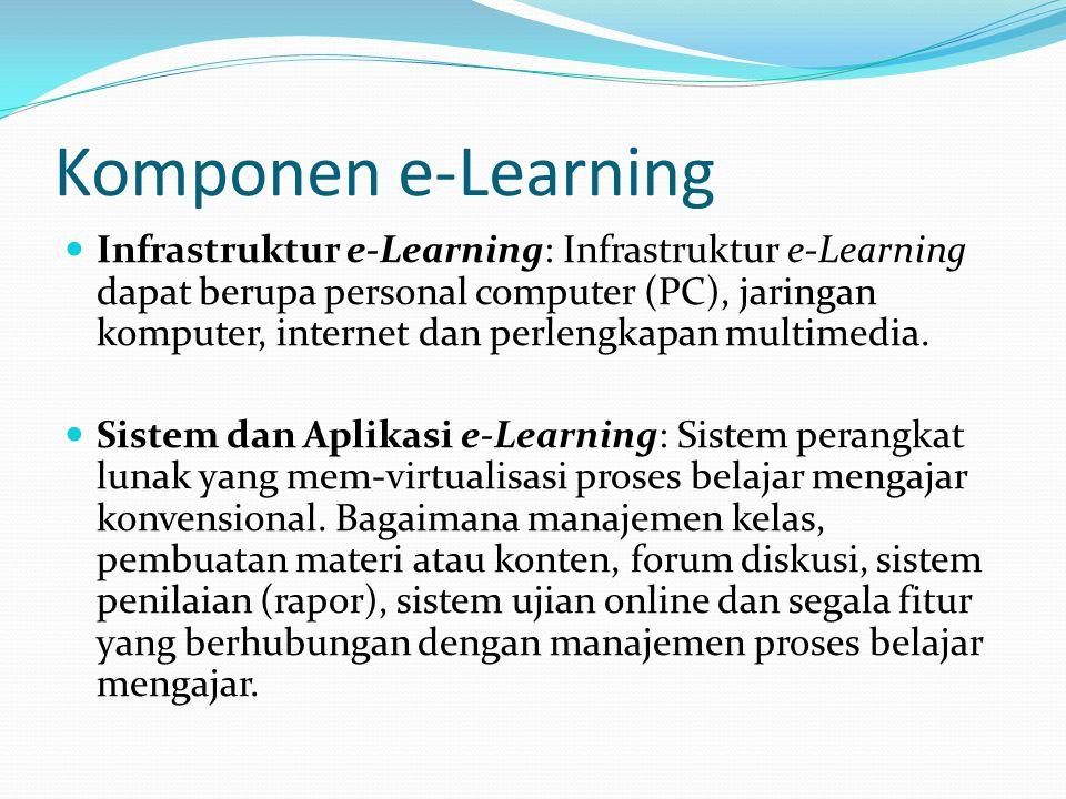 Komponen e-Learning Infrastruktur e-Learning: Infrastruktur e-Learning dapat berupa personal computer (PC), jaringan komputer, internet dan perlengkap