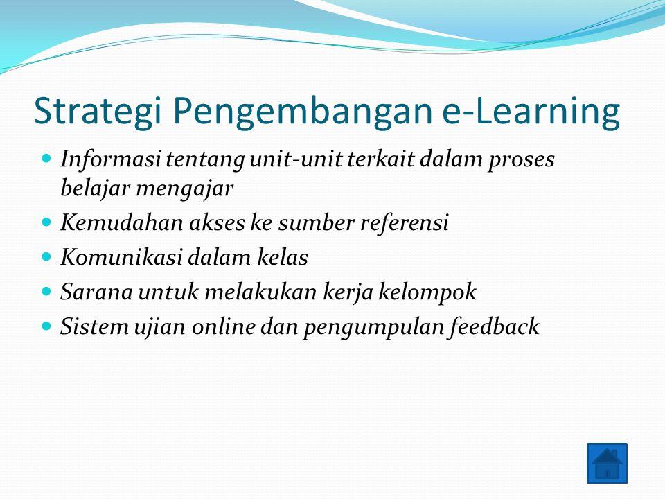 Strategi Pengembangan e-Learning Informasi tentang unit-unit terkait dalam proses belajar mengajar Kemudahan akses ke sumber referensi Komunikasi dala