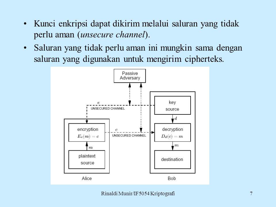 Rinaldi Munir/IF5054 Kriptografi7 Kunci enkripsi dapat dikirim melalui saluran yang tidak perlu aman (unsecure channel). Saluran yang tidak perlu aman