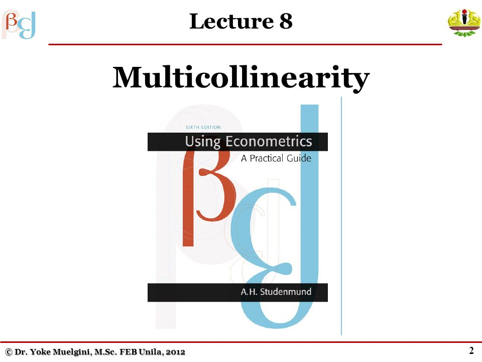 2 Lecture 8 Multicollinearity © Dr. Yoke Muelgini, M.Sc. FEB Unila, 2012
