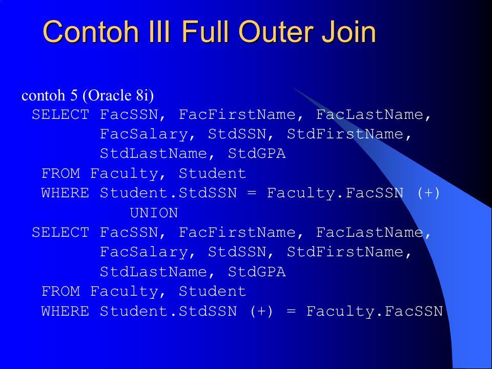 Contoh III Full Outer Join contoh 5 (Oracle 8i) SELECT FacSSN, FacFirstName, FacLastName, FacSalary, StdSSN, StdFirstName, StdLastName, StdGPA FROM Faculty, Student WHERE Student.StdSSN = Faculty.FacSSN (+) UNION SELECT FacSSN, FacFirstName, FacLastName, FacSalary, StdSSN, StdFirstName, StdLastName, StdGPA FROM Faculty, Student WHERE Student.StdSSN (+) = Faculty.FacSSN