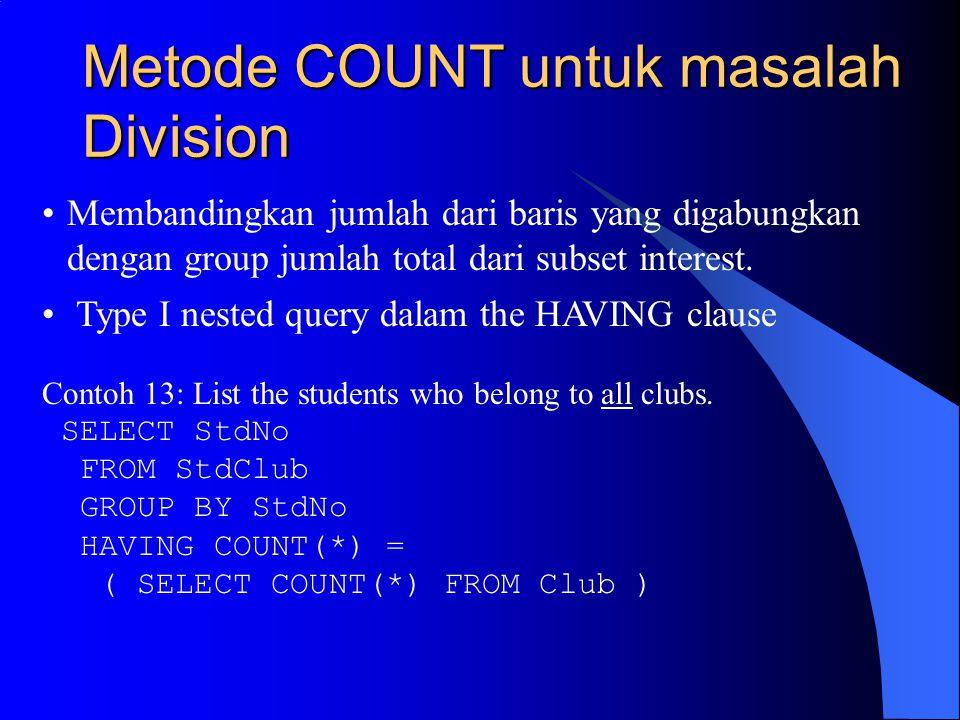 Metode COUNT untuk masalah Division Membandingkan jumlah dari baris yang digabungkan dengan group jumlah total dari subset interest.