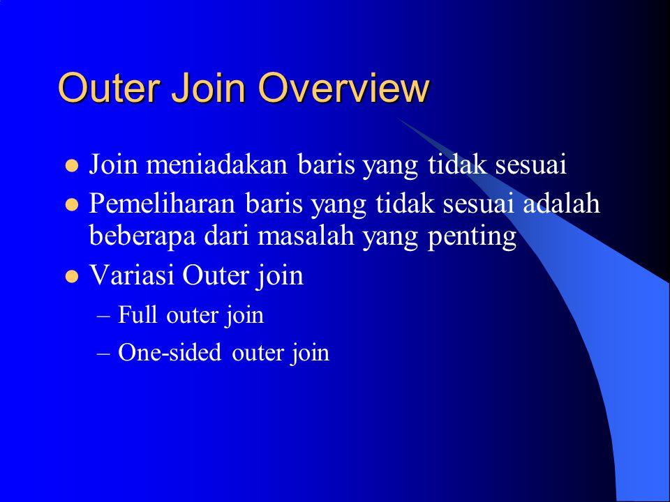Outer Join Overview Join meniadakan baris yang tidak sesuai Pemeliharan baris yang tidak sesuai adalah beberapa dari masalah yang penting Variasi Outer join –Full outer join –One-sided outer join