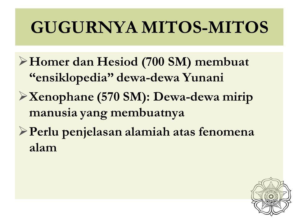"GUGURNYA MITOS-MITOS  Homer dan Hesiod (700 SM) membuat ""ensiklopedia"" dewa-dewa Yunani  Xenophane (570 SM): Dewa-dewa mirip manusia yang membuatnya"