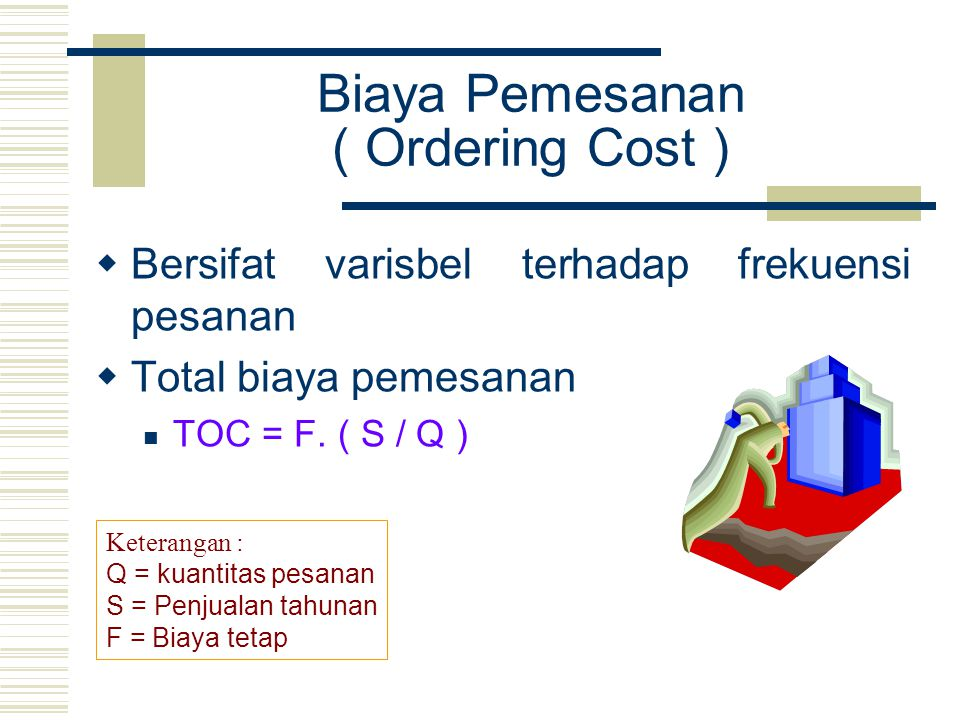 Biaya Pemesanan ( Ordering Cost )  Bersifat varisbel terhadap frekuensi pesanan  Total biaya pemesanan TOC = F. ( S / Q ) Keterangan : Q = kuantitas