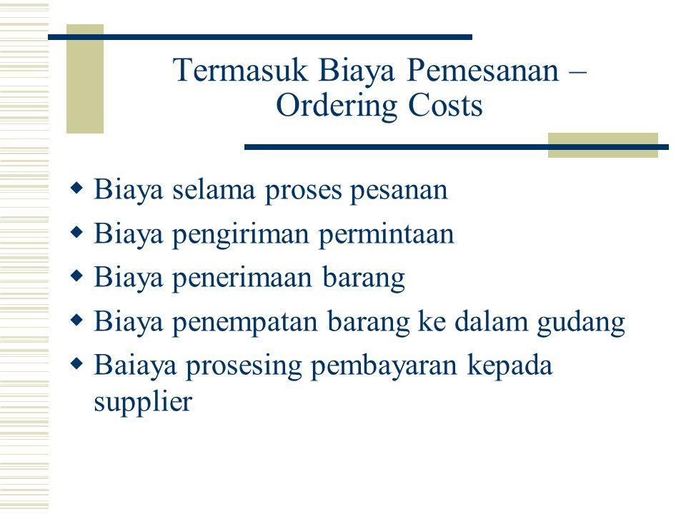Termasuk Biaya Pemesanan – Ordering Costs  Biaya selama proses pesanan  Biaya pengiriman permintaan  Biaya penerimaan barang  Biaya penempatan bar