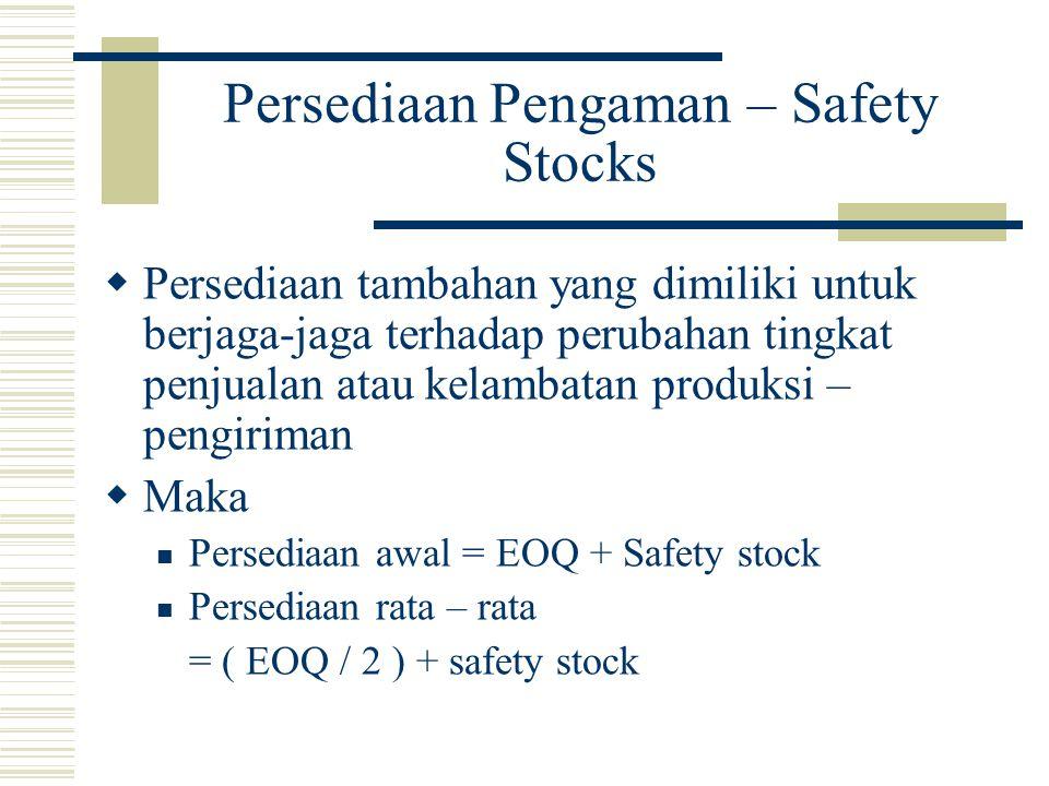 Persediaan Pengaman – Safety Stocks  Persediaan tambahan yang dimiliki untuk berjaga-jaga terhadap perubahan tingkat penjualan atau kelambatan produk
