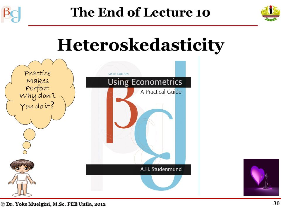 29 Key Terms from Lecture 10 Impure heteroskedasticity Pure heteroskedasticity Proportionality factor Z The Park test The White test Heteroskedasticit