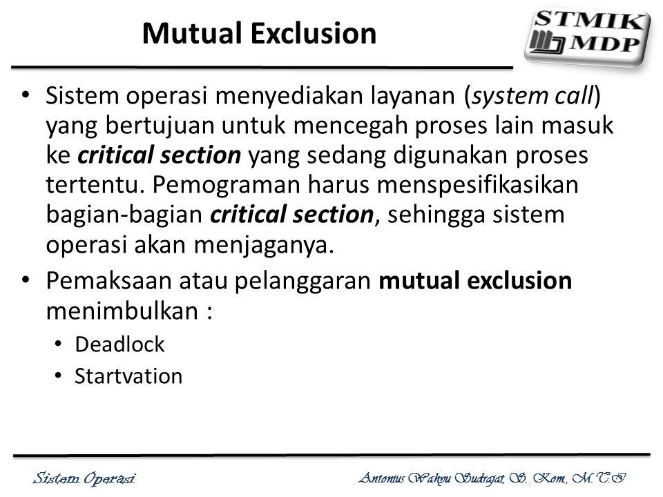 Sistem Operasi Antonius Wahyu Sudrajat, S. Kom., M.T.I Mutual Exclusion Sistem operasi menyediakan layanan (system call) yang bertujuan untuk mencegah
