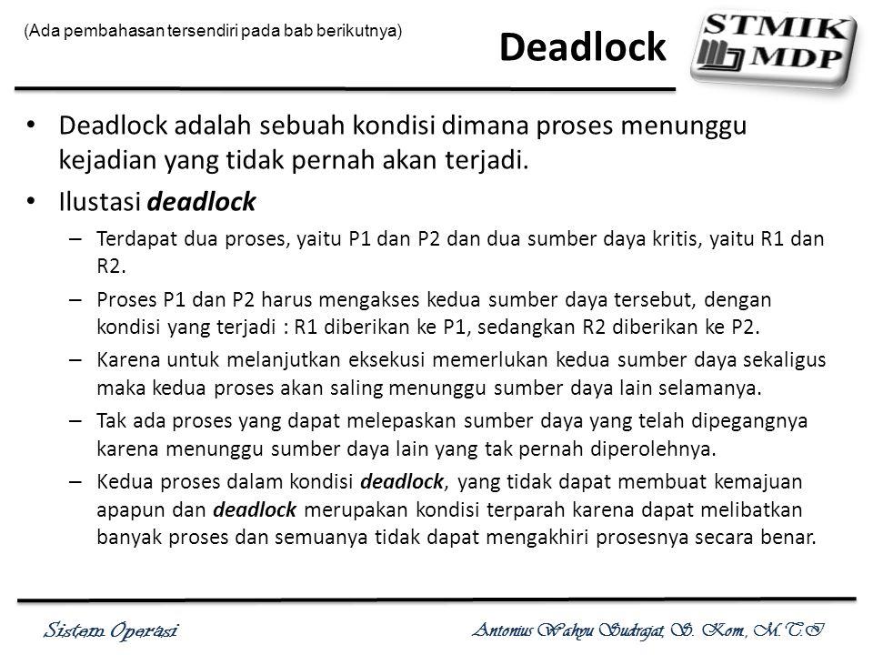 Sistem Operasi Antonius Wahyu Sudrajat, S. Kom., M.T.I Deadlock Deadlock adalah sebuah kondisi dimana proses menunggu kejadian yang tidak pernah akan