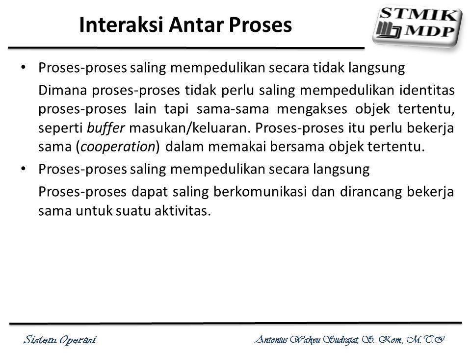Sistem Operasi Antonius Wahyu Sudrajat, S. Kom., M.T.I Interaksi Antar Proses Proses-proses saling mempedulikan secara tidak langsung Dimana proses-pr