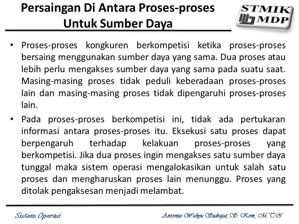 Sistem Operasi Antonius Wahyu Sudrajat, S. Kom., M.T.I Persaingan Di Antara Proses-proses Untuk Sumber Daya Proses-proses kongkuren berkompetisi ketik