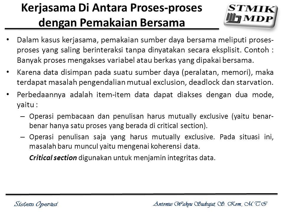 Sistem Operasi Antonius Wahyu Sudrajat, S. Kom., M.T.I Kerjasama Di Antara Proses-proses dengan Pemakaian Bersama Dalam kasus kerjasama, pemakaian sum