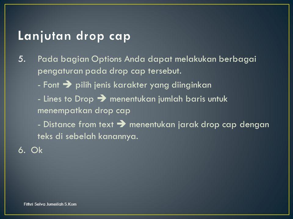 Fithri Selva Jumeilah S.Kom 5.Pada bagian Options Anda dapat melakukan berbagai pengaturan pada drop cap tersebut.