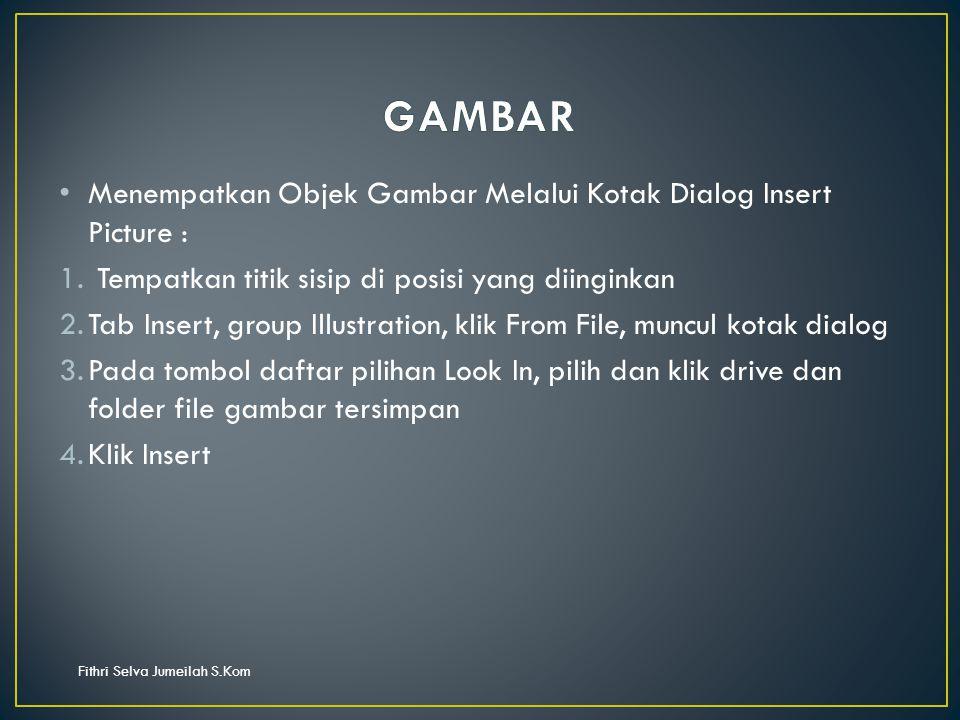 Fithri Selva Jumeilah S.Kom Menempatkan Objek Gambar Melalui Kotak Dialog Insert Picture : 1.
