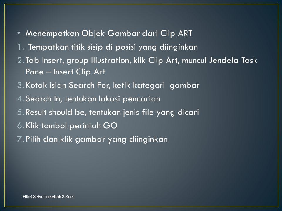 Fithri Selva Jumeilah S.Kom Menempatkan Objek Gambar dari Clip ART 1.