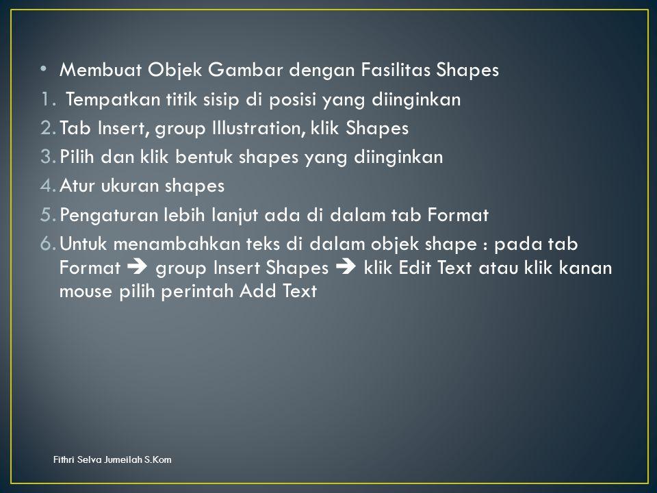 Fithri Selva Jumeilah S.Kom Membuat Objek Gambar dengan Fasilitas Shapes 1.