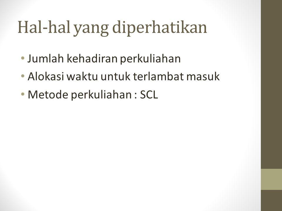 Hal-hal yang diperhatikan Jumlah kehadiran perkuliahan Alokasi waktu untuk terlambat masuk Metode perkuliahan : SCL