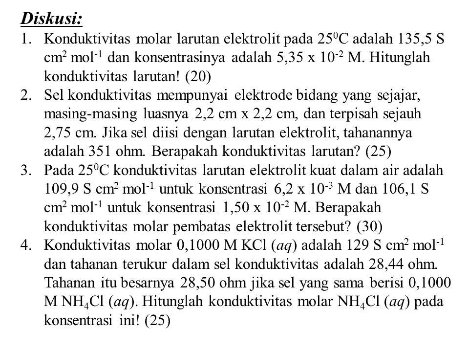 Diskusi: 1.Konduktivitas molar larutan elektrolit pada 25 0 C adalah 135,5 S cm 2 mol -1 dan konsentrasinya adalah 5,35 x 10 -2 M. Hitunglah konduktiv