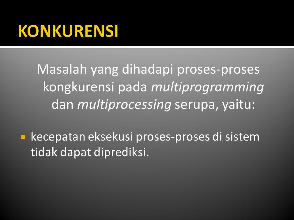 Masalah yang dihadapi proses-proses kongkurensi pada multiprogramming dan multiprocessing serupa, yaitu:  kecepatan eksekusi proses-proses di sistem tidak dapat diprediksi.