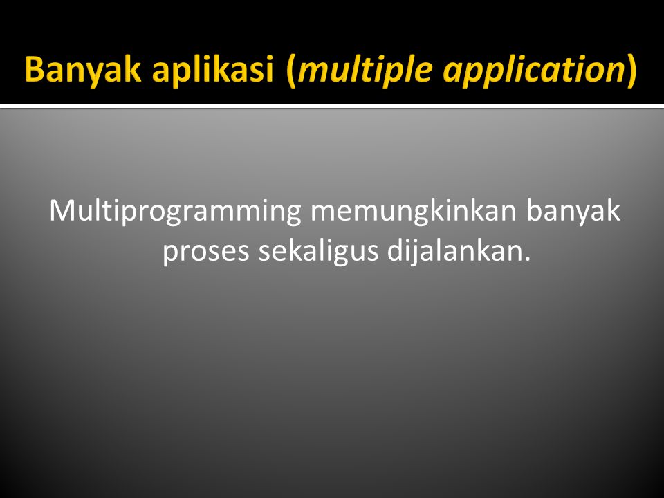 Multiprogramming memungkinkan banyak proses sekaligus dijalankan.
