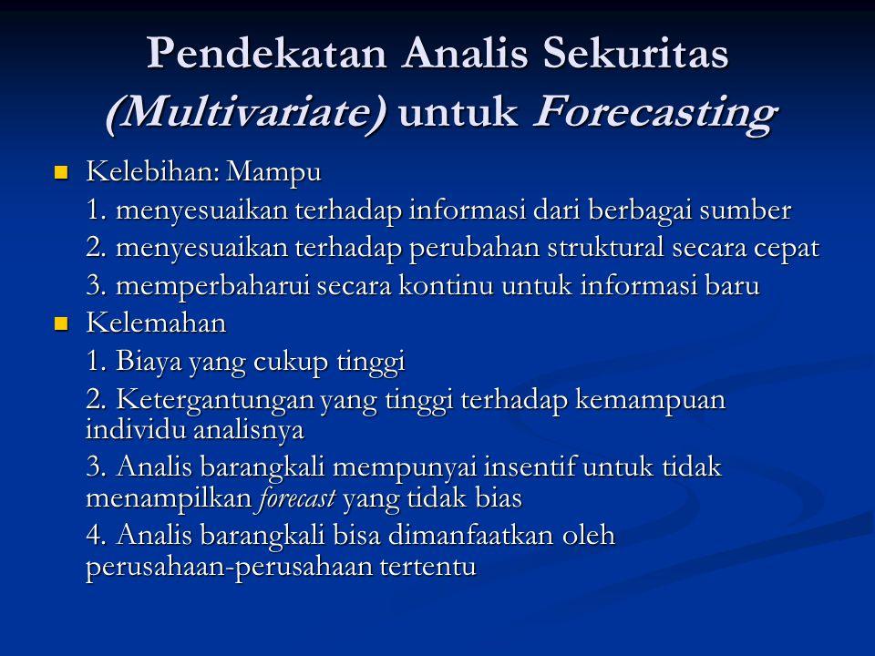 Pendekatan Analis Sekuritas (Multivariate) untuk Forecasting Kelebihan: Mampu Kelebihan: Mampu 1. menyesuaikan terhadap informasi dari berbagai sumber