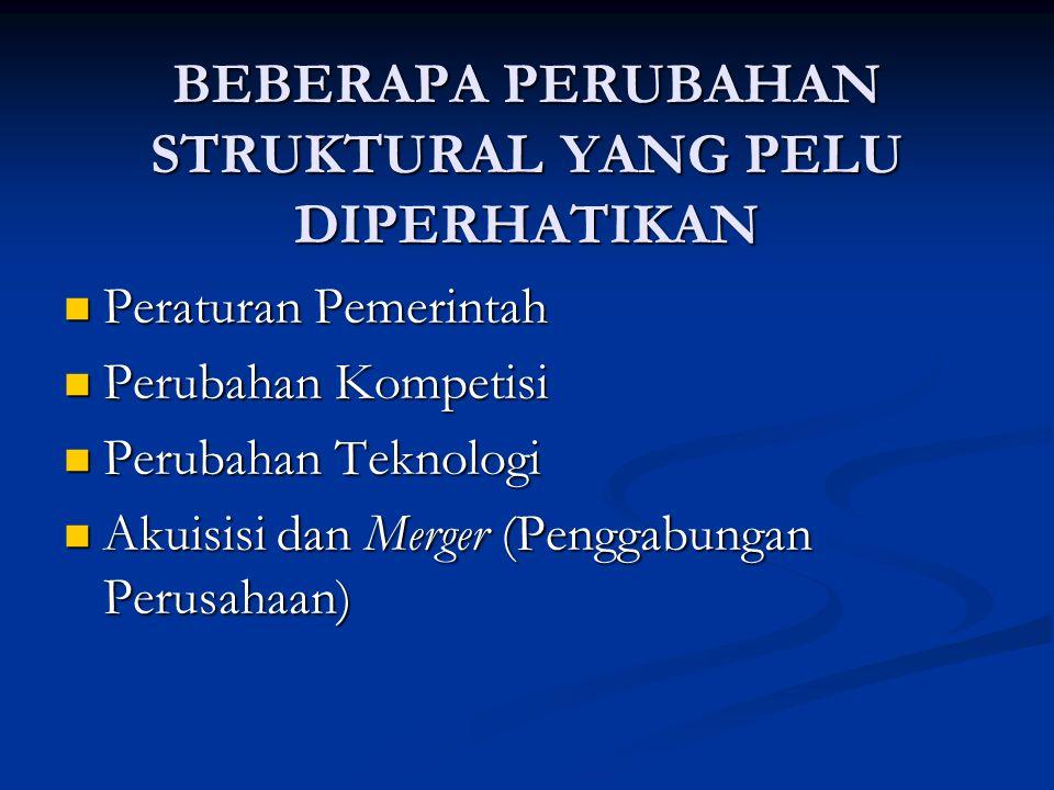 BEBERAPA PERUBAHAN STRUKTURAL YANG PELU DIPERHATIKAN Peraturan Pemerintah Peraturan Pemerintah Perubahan Kompetisi Perubahan Kompetisi Perubahan Tekno