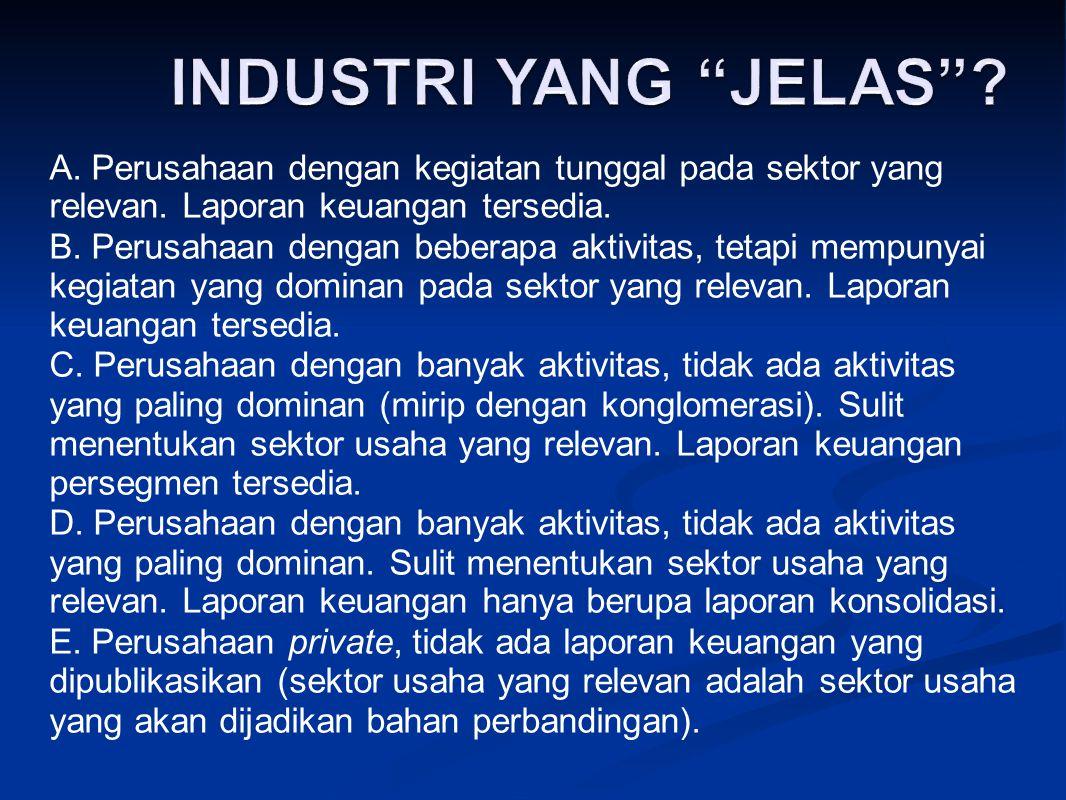 A. Perusahaan dengan kegiatan tunggal pada sektor yang relevan. Laporan keuangan tersedia. B. Perusahaan dengan beberapa aktivitas, tetapi mempunyai k