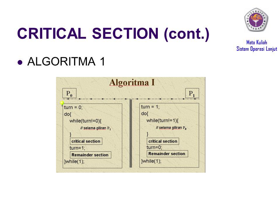 Mata Kuliah Sistem Operasi Lanjut CRITICAL SECTION (cont.) ALGORITMA 1