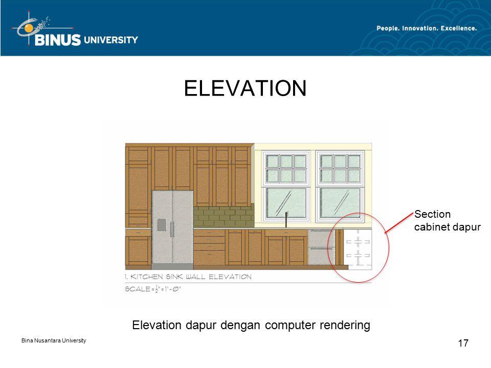 ELEVATION Bina Nusantara University 17 Elevation dapur dengan computer rendering Section cabinet dapur