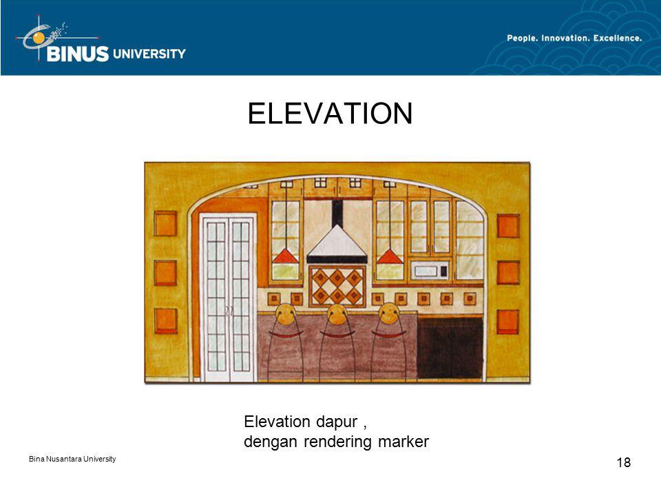 ELEVATION Bina Nusantara University 18 Elevation dapur, dengan rendering marker