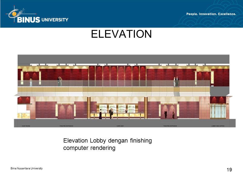 ELEVATION Bina Nusantara University 19 Elevation Lobby dengan finishing computer rendering