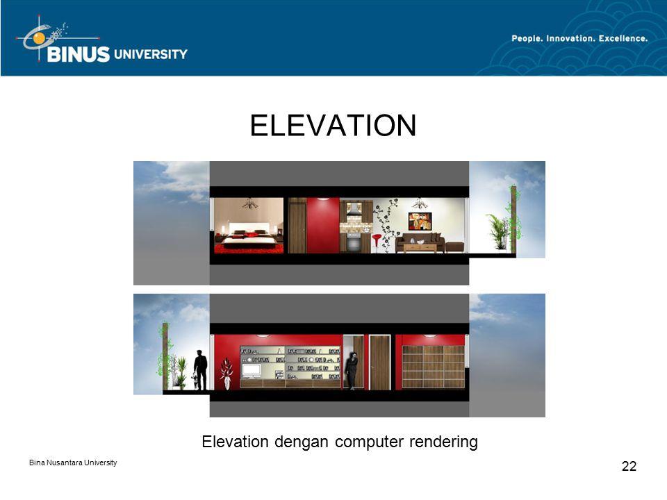 ELEVATION Bina Nusantara University 22 Elevation dengan computer rendering