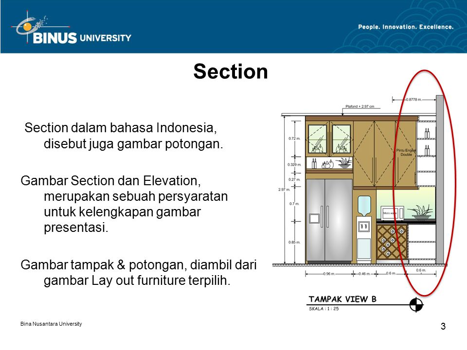 Bina Nusantara University 3 Section dalam bahasa Indonesia, disebut juga gambar potongan. Gambar Section dan Elevation, merupakan sebuah persyaratan u