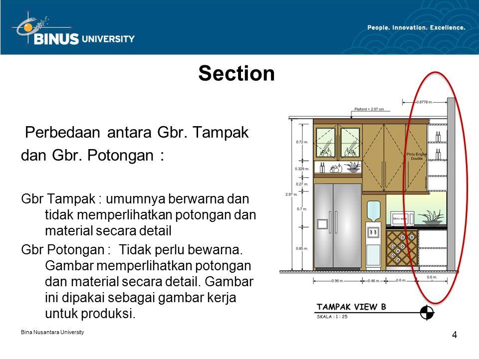 Bina Nusantara University 4 Perbedaan antara Gbr. Tampak dan Gbr. Potongan : Gbr Tampak : umumnya berwarna dan tidak memperlihatkan potongan dan mater