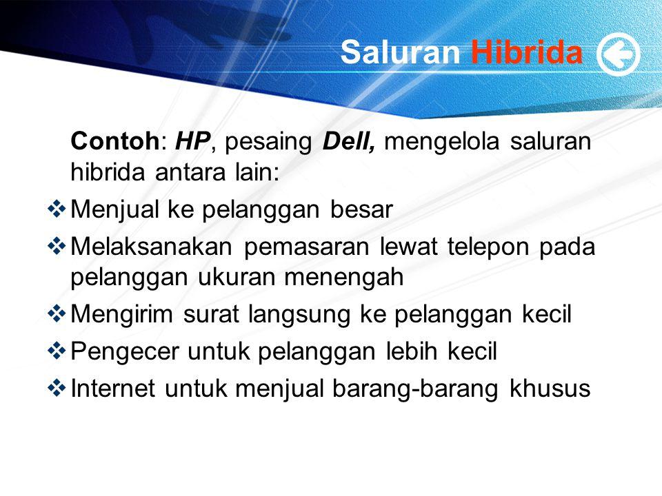 Saluran Hibrida Contoh: HP, pesaing Dell, mengelola saluran hibrida antara lain:  Menjual ke pelanggan besar  Melaksanakan pemasaran lewat telepon p