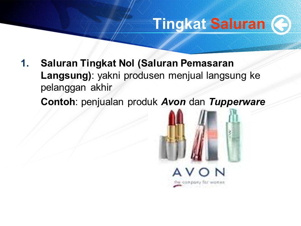 Tingkat Saluran 1.Saluran Tingkat Nol (Saluran Pemasaran Langsung): yakni produsen menjual langsung ke pelanggan akhir Contoh: penjualan produk Avon d